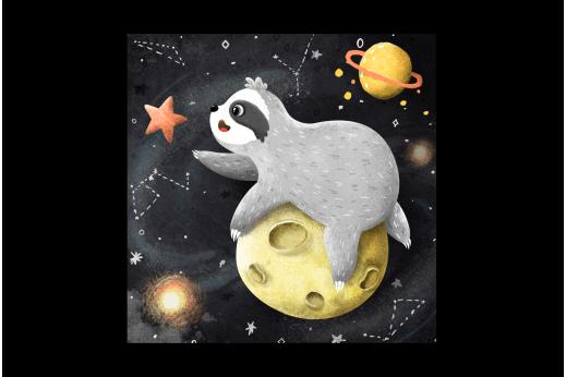 Картина Ленивец на луне